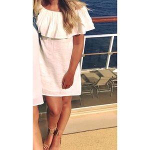 Billabong off the shoulder off-white cotton dress